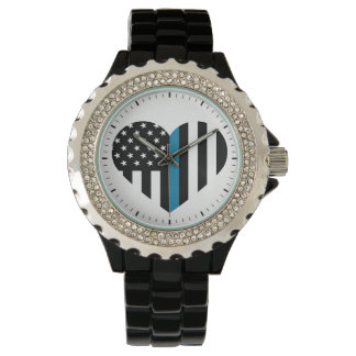 Thin Blue Line Heart Shaped Flag Wrist Watches