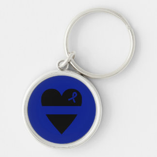 Thin Blue Line Heart Silver-Colored Round Keychain