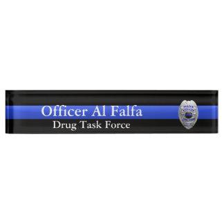 Thin Blue Line - Hi Res Solid Silver Police Badge Desk Nameplate