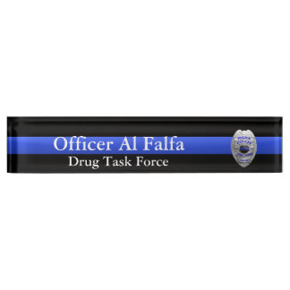 Thin Blue Line - Hi Res Solid Silver Police Badge Nameplate