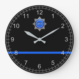Thin Blue Line Large Clock