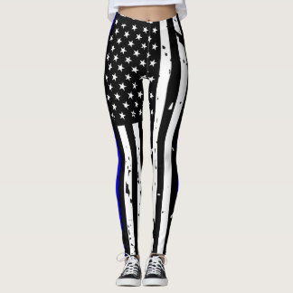 Thin Blue Line Leggings - Vertical