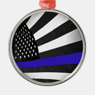 Thin Blue Line Metal Ornament