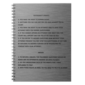 Thin Blue Line & Miranda Rights Warning and Waiver Notebook
