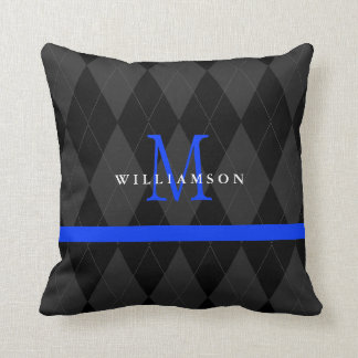 Thin Blue Line Monogram Black Argyle Pattern Throw Pillow