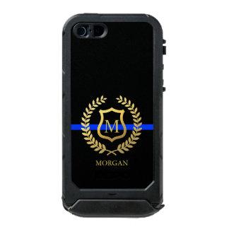 Thin Blue Line Monogram Faux Gold Foil Incipio ATLAS ID™ iPhone 5 Case