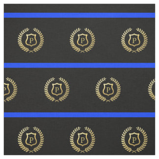 Thin Blue Line Monogram Faux Gold Foil Shield Fabric