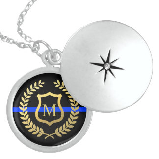 Thin Blue Line Monogram Faux Gold Shield Wreath Sterling Silver Necklace