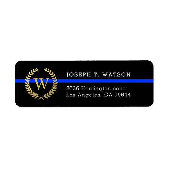 Thin Blue Line Monogram Faux Gold Wreath Address