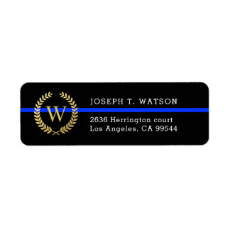 Thin Blue Line Monogram Faux Gold Wreath Address Return Address Label