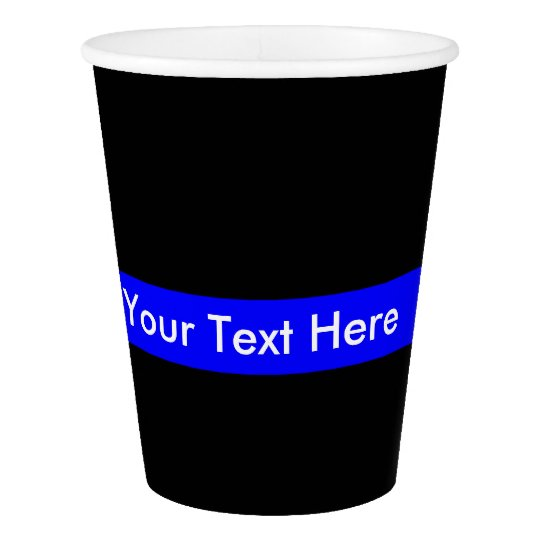 Thin Blue Line Monogram Paper Cup