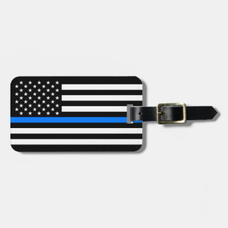 """THIN BLUE LINE ON AMERICAN FLAG"" LUGGAGE TAG"