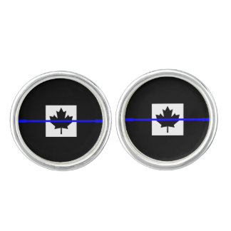 Thin Blue Line on Canadian Flag Cufflinks