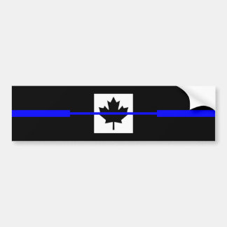 Thin Blue Line on Canadian Flag Decor Bumper Sticker