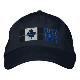 Thin Blue Line on Canadian Flag Duty Honor Courage Embroidered Hat