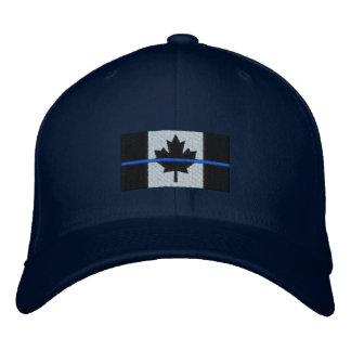 Thin Blue Line on Canadian Flag Embroidered Hat