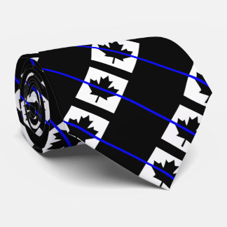 Thin Blue Line on Canadian Flag Tie