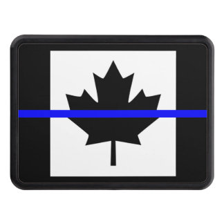 Thin Blue Line on Canadian Flag Trailer Hitch Cover