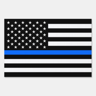 """THIN BLUE LINE on FLAG"" (DOUBLE-SIDED)"