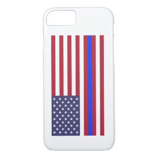"""THIN BLUE LINE on FLAG"" iPhone 7 Case"
