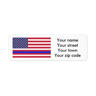 """THIN BLUE LINE on FLAG"" Return Address Label"