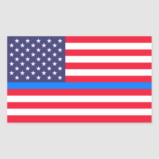 """THIN BLUE LINE on FLAG"" Sticker"