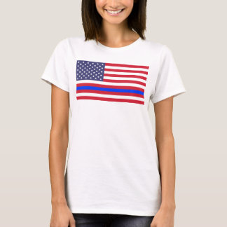 """THIN BLUE LINE on FLAG"" T-Shirt"