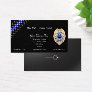 Thin Blue Line Police Badge and Handcuff Key Business Card