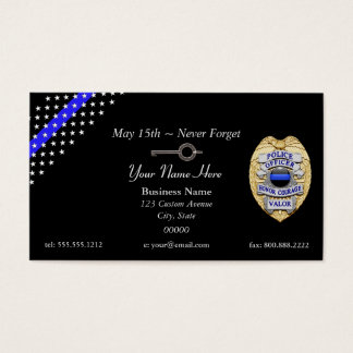 Thin Blue Line Police Badge Handcuff Key Business Card