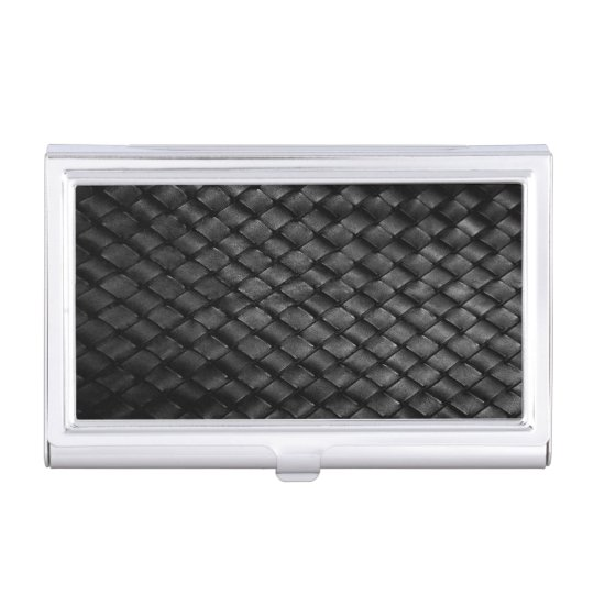 Thin Blue Line Police Leather Basket Weave Business Card Case