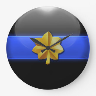 Thin Blue Line - Police Major Insignia Large Clock