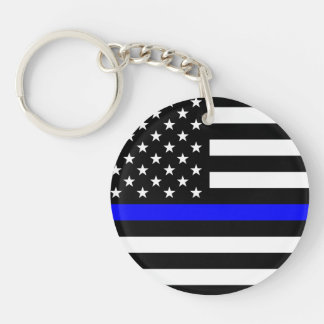 Thin Blue Line - Police Officer - K9 Police Dog Keychain