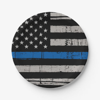 Thin Blue Line - Police Officer - K9 Police Dog Paper Plate