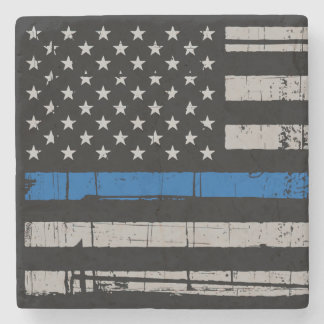 Thin Blue Line - Police Officer - Law Enforcement Stone Coaster