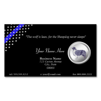 """Thin Blue Line Police """"The Sheepdog Never Sleeps"""" Magnetic Business Card"""