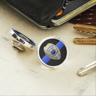 Thin Blue Line Retired Police Badge Lapel Pin
