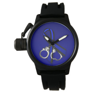 Thin Blue Line Ribbon Handcuffs Watch