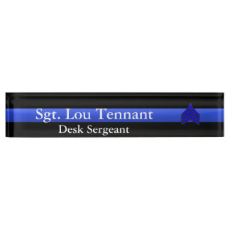 Thin Blue Line - Sergeant Stripes Rank Desk Nameplate