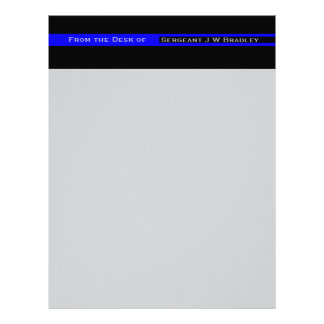 Thin Blue Line Striped Police Lives Matter Support Letterhead Template