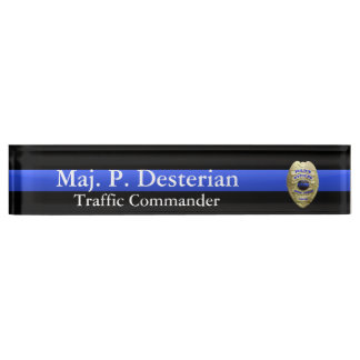 Thin Blue Line - Super Hi Res Police Command Badge Name Plate
