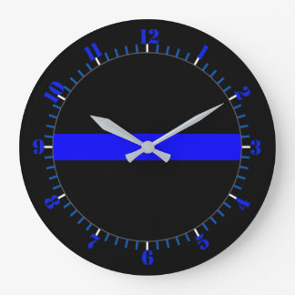 Thin Blue Line Symbolic Memorial on a Large Clock