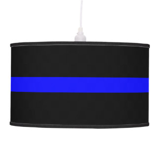 Thin Blue Line Symbolic Memorial on a Pendant Lamp