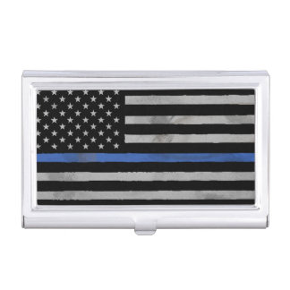 Thin Blue Line Tattered Distressed Flag Business Card Holder