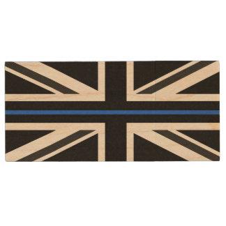 Thin Blue Line UK Flag Wood USB Flash Drive