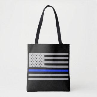 Thin Blue Line USA flag tote bag