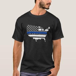 Thin Blue Line USA Map T-Shirt