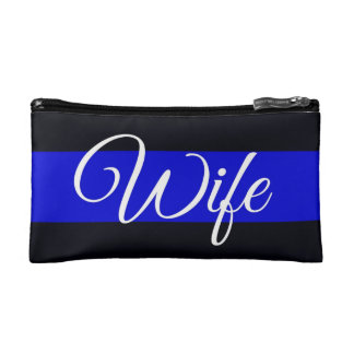 Thin Blue Line Wife Cosmetics Bag Makeup Bag