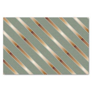 Thin Copper Metallic Diagonal Stripes Tissue Paper