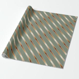 Thin Copper Metallic Diagonal Stripes Wrapping Paper