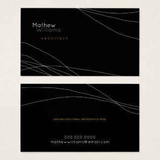 thin curved lines on a modern black business card